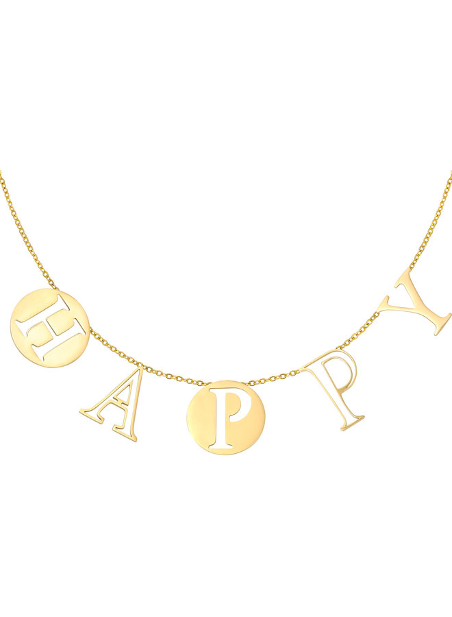 Ketting Letters Happy gold