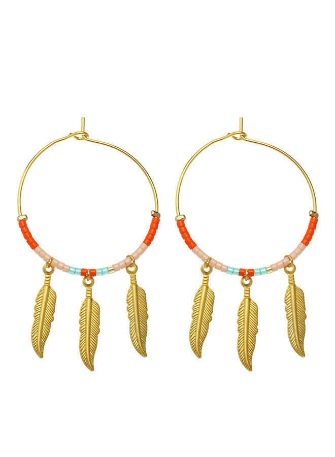 Oorbellen Colourful Feathers gold