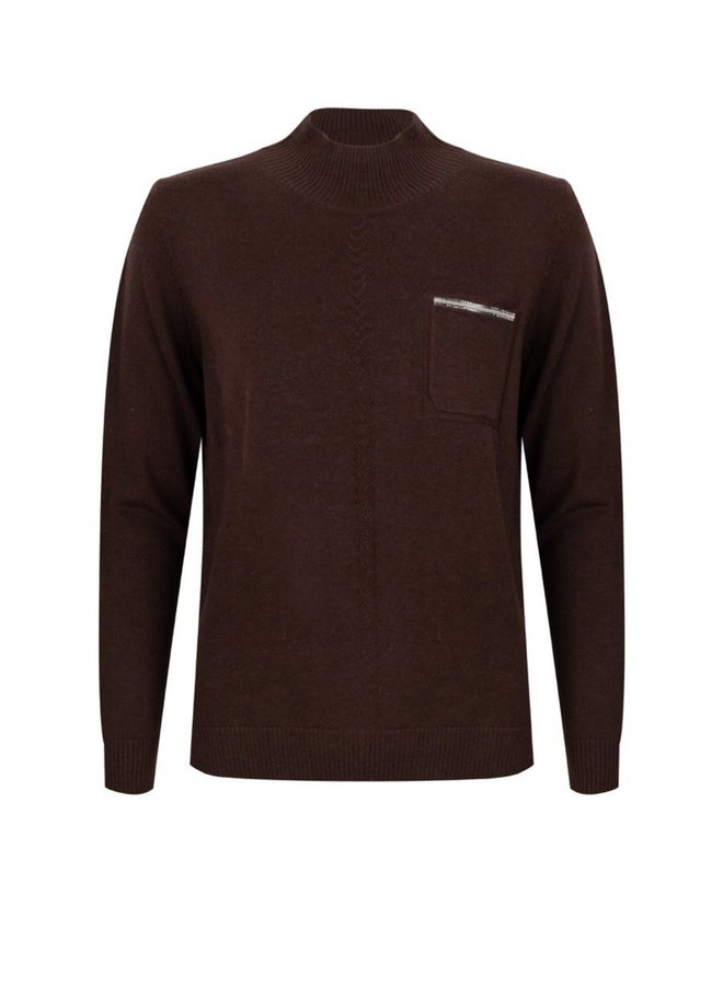 Sweater melange chest pocket chocolate
