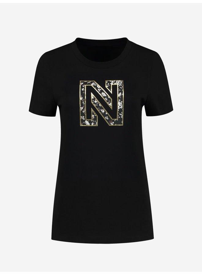 Nikkie flower logo t-shirt Black