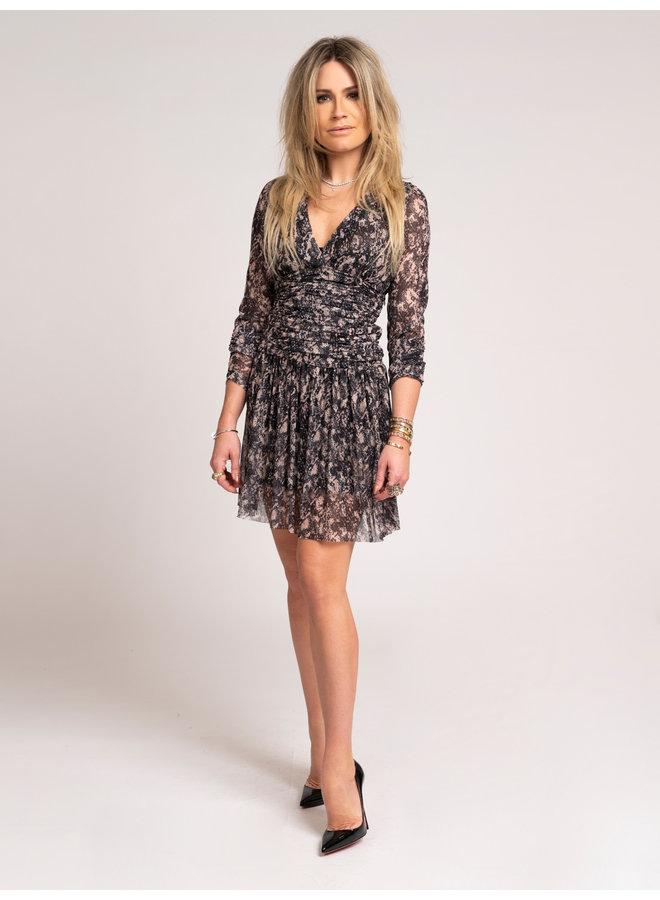 Animal mesh Dress (Black)