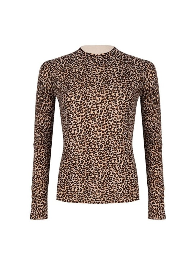 Sweater basic leopard buttons