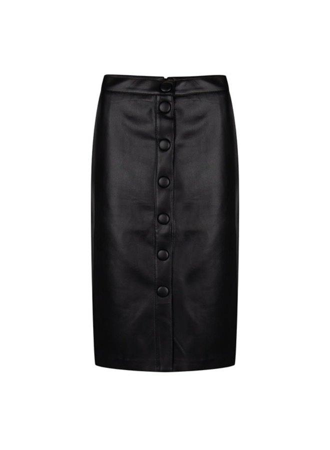 Skirt buttoned front PU Black