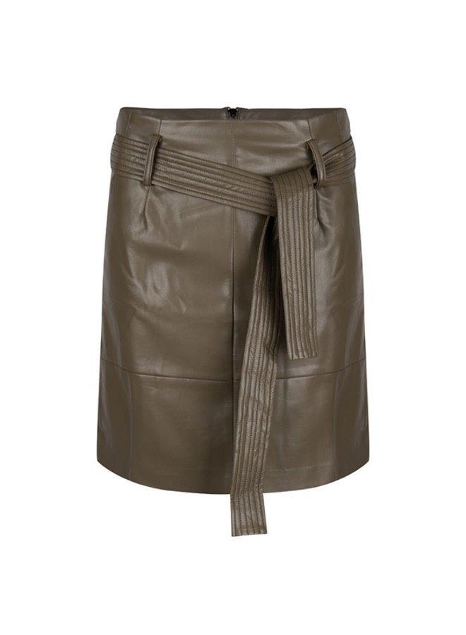 Skirt short belt PU Chocolate