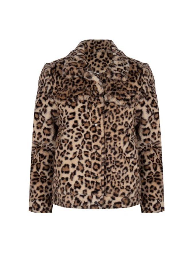 Coat fake fur leopard