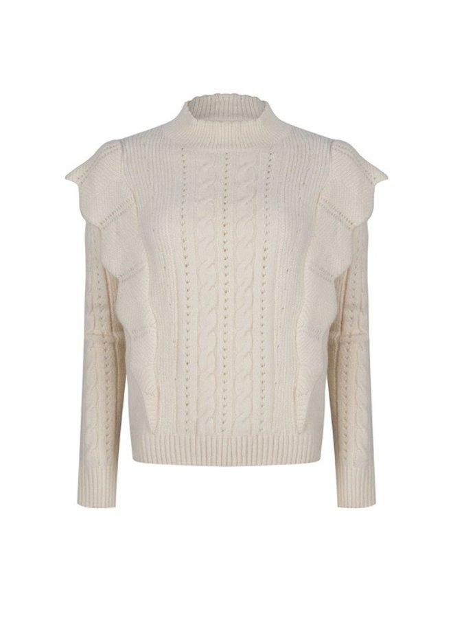 Sweater Shoulder ruffle (ivory)