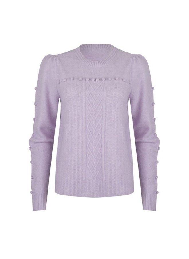 Sweater R/neck sleeve dots (Lila)