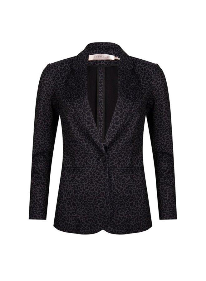 Blazer knit leopard print