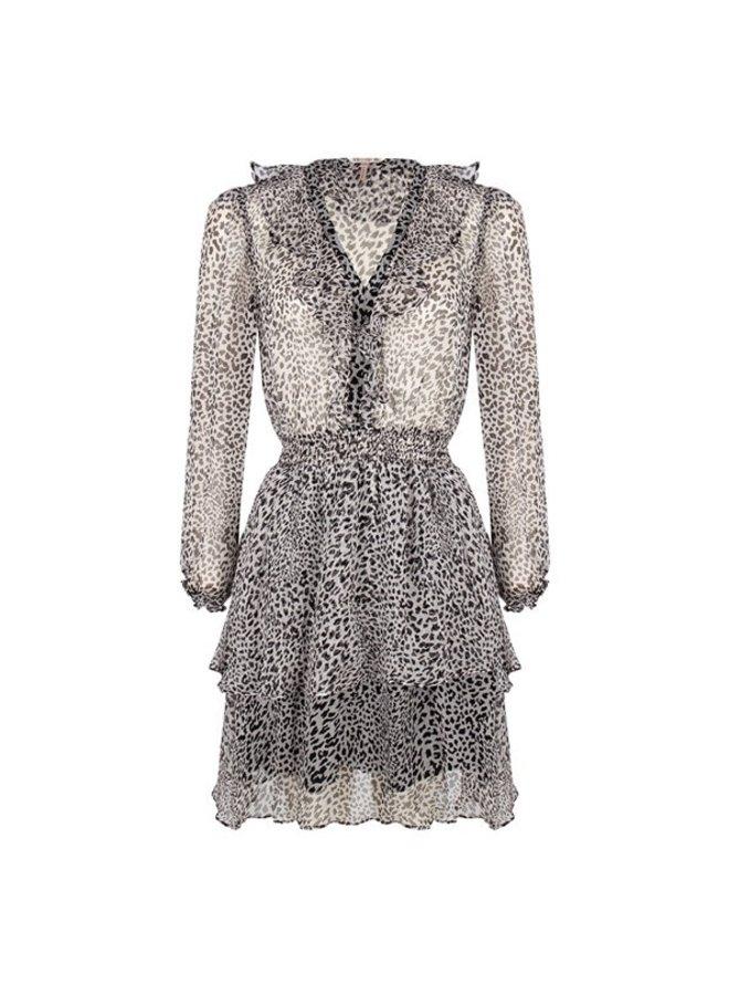 Dress ruffles smocking cheetah print