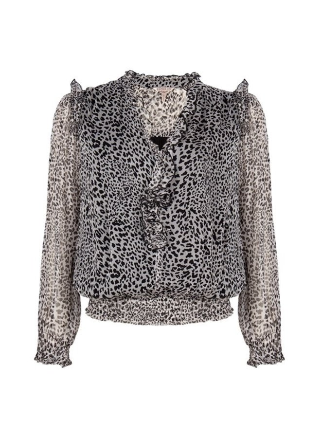Blouse smocking cheetah print