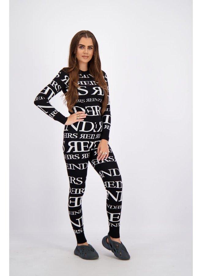 Reinders pants all over print (True Black)