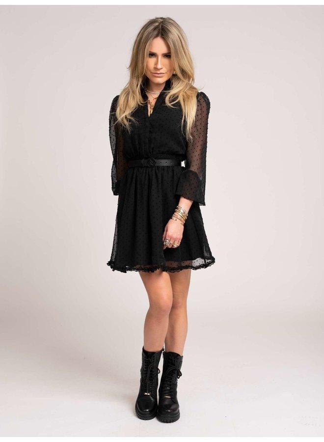 Dotted ruffle dress (Black)
