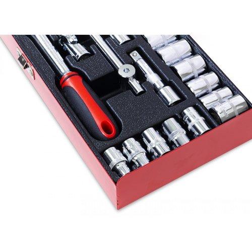 """Ragnor  Jeu de clés à douille, montage 3/8 """", 24 pièces, magnétique"""