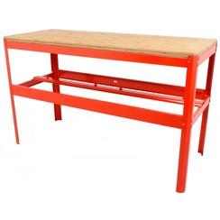 Etabli avec plan de travail en bambou Ragnor rouge - 150cm
