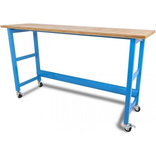 Ragnor Werkbank verrijdbaar met werkblad - 200 cm blauw - Ragnor