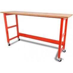 Werkbank verrijdbaar met werkblad - 200 cm rood - Ragnor