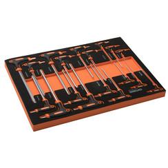 Jeu de clés Allen et clés Torx de 18 pièces Centurius avec poignée en T dans le module souple