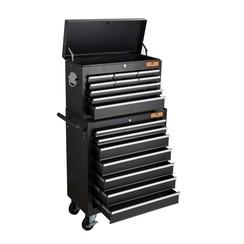 Chariot à outils Centurius, 16 tiroirs - noir