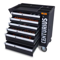 Chariot à outils Centurius avec armoire de rangement 6 tiroirs complètement remplis