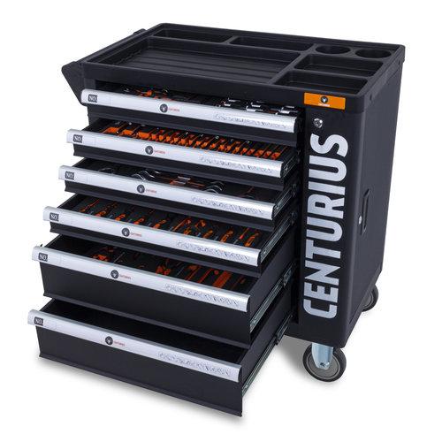 Centurius Chariot à outils Centurius avec armoire de rangement 6 tiroirs complètement remplis