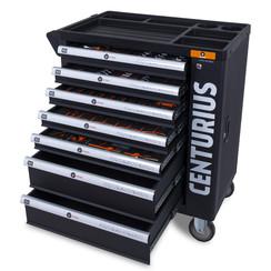 Chariot à outils Centurius avec armoire de rangement 7 tiroirs complètement remplis