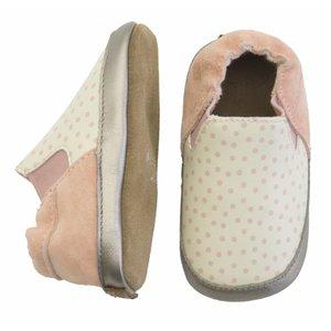 MELTON leren baby schoentjes met stippen pink white