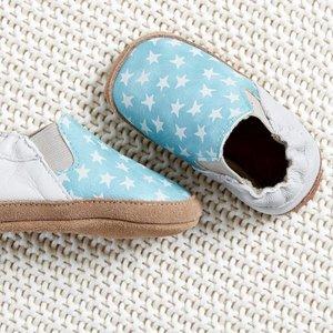 MELTON leren baby schoentjes met sterren light blue