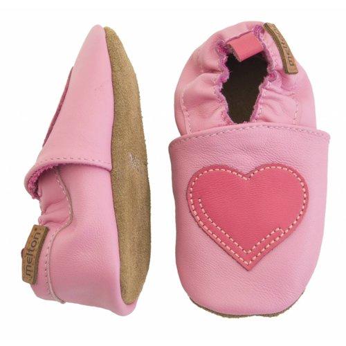 MELTON Melton leren baby schoentjes hart pink