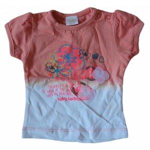 DIRKJE BABYKLEDING T-shirt New York flowers coral/oranje white