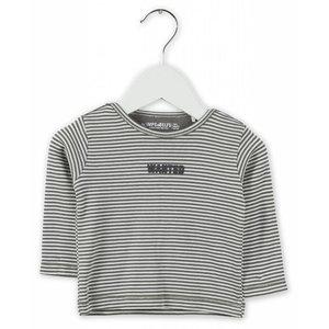 IMPS&ELFS t-shirt long sleeve stone grey  off white