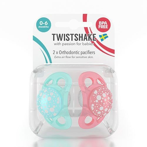 Twistshake Twistshake 2x fopspeen perzik+turquoise