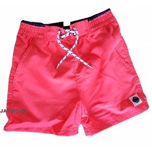 LENTIGGINI contrast boy zwembroek side pockets neon coral / navy