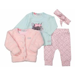 DIRKJE BABYKLEDING meisjes 3 delige set en hoofdband light pink/grey/mint tiny mouse