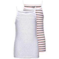 NAME IT meisjes 2-pack top grey melange stripe