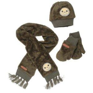 MOODSTREET meisjes muts, sjaal en handschoenen khaki