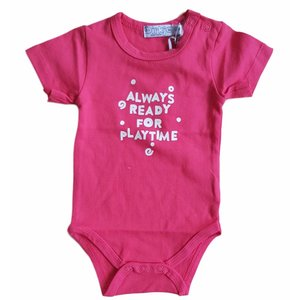 DIRKJE BABYKLEDING stretchromper always ready for playtime roze