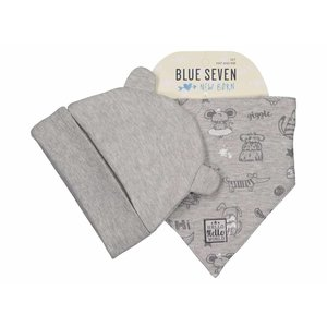 BLUE SEVEN unisex muts met sjaal grijs gemêleerd my first friends