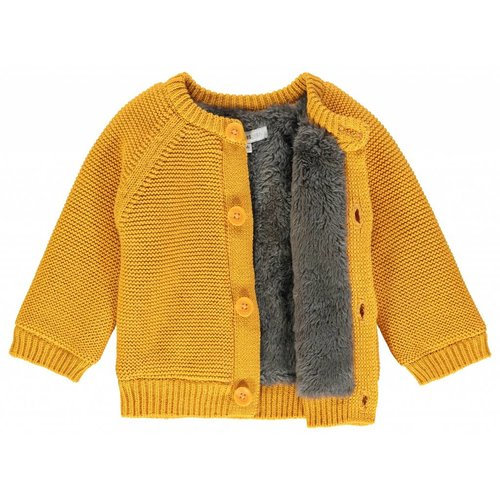 NOPPIES Noppies unisex vestje knit longsleeve lou honey yellow