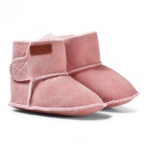 MELTON Gevoerd laarsen pink met bontrand (100% lamswol