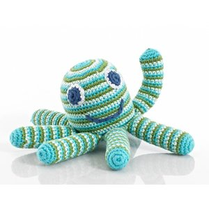 KLEINE GIRAF pebble rammelaar octopus blue/green