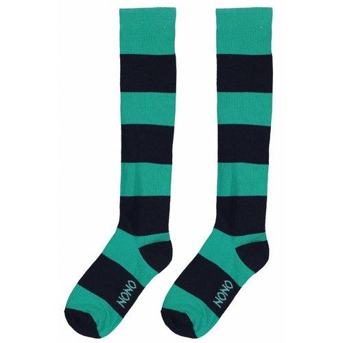 Nono Nono meisjes sokken smaragd stripes tiggy
