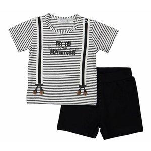 DIRKJE BABYKLEDING jongens 2 delige babysuit short black stripe + black