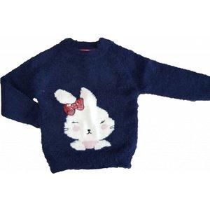 KNOT SO BAD meisjes pullover pretty rabbit embro blue