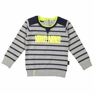 KOKO NOKO jongens trui grey melee + navy stripe