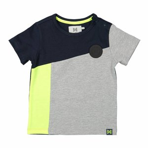 KOKO NOKO jongens t-shirt navy + grey melee + neon yellow