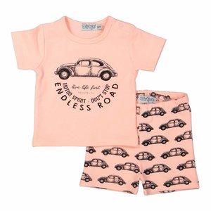 DIRKJE BABYKLEDING jongens 2 delige babysuit short neon peach + black aop