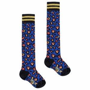LITTLE MISS JULIETTE meisjes sokken blue leopard