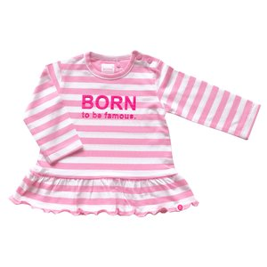 BORN TO BE FAMOUS meisjes longsleeve white/pink stripe nos