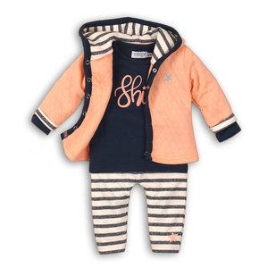 DIRKJE BABYKLEDING meisjes 3 delige set peach + navy + off white stripe so fresh shine