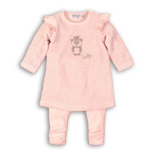 DIRKJE BABYKLEDING meisjes 2 delige set light pink stripe + light pink so soft hello